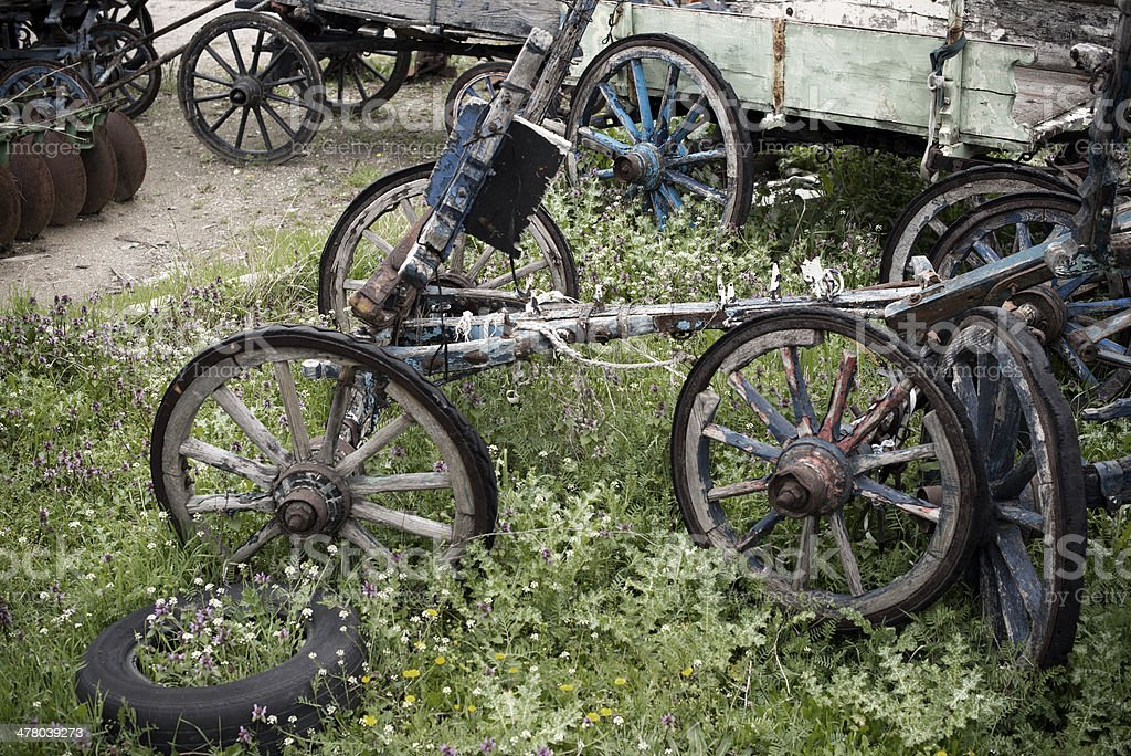 Old wagon and wheels royalty-free stock photo