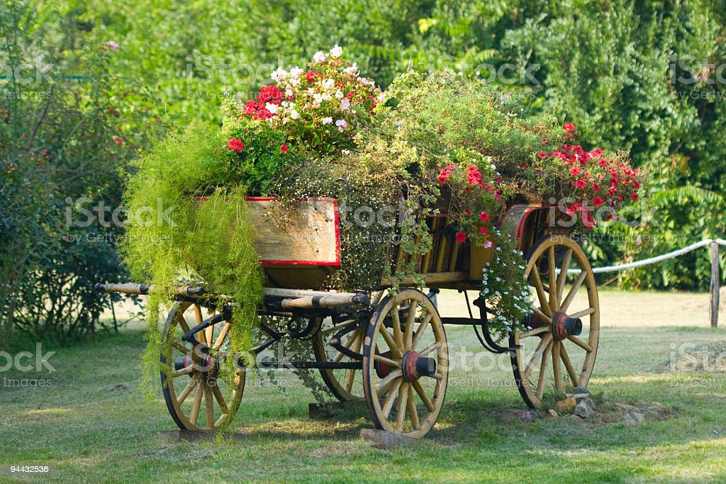 Old wagon full of flowers royalty-free stock photo