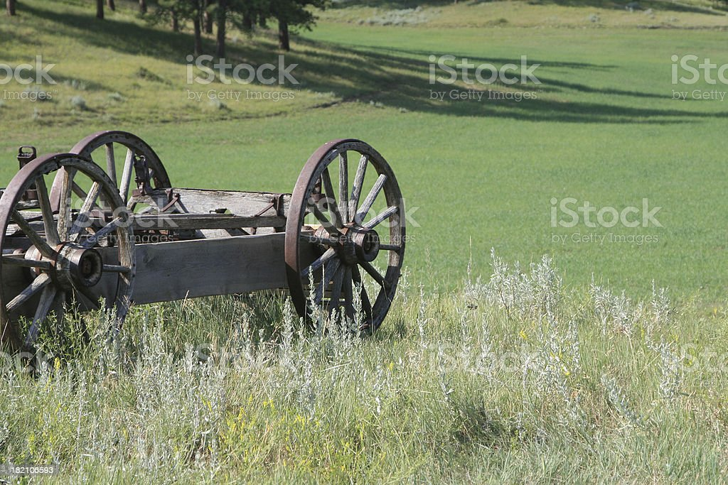 Old wagon in a field royalty-free stock photo