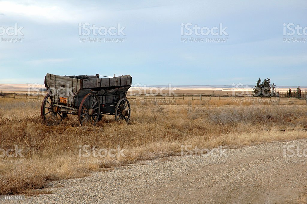 Old wagon in Alberta, Canada royalty-free stock photo
