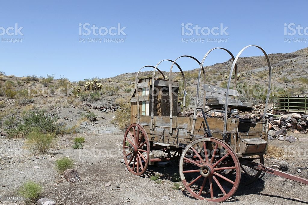 Old Wagon in Oatman, Arizona stock photo
