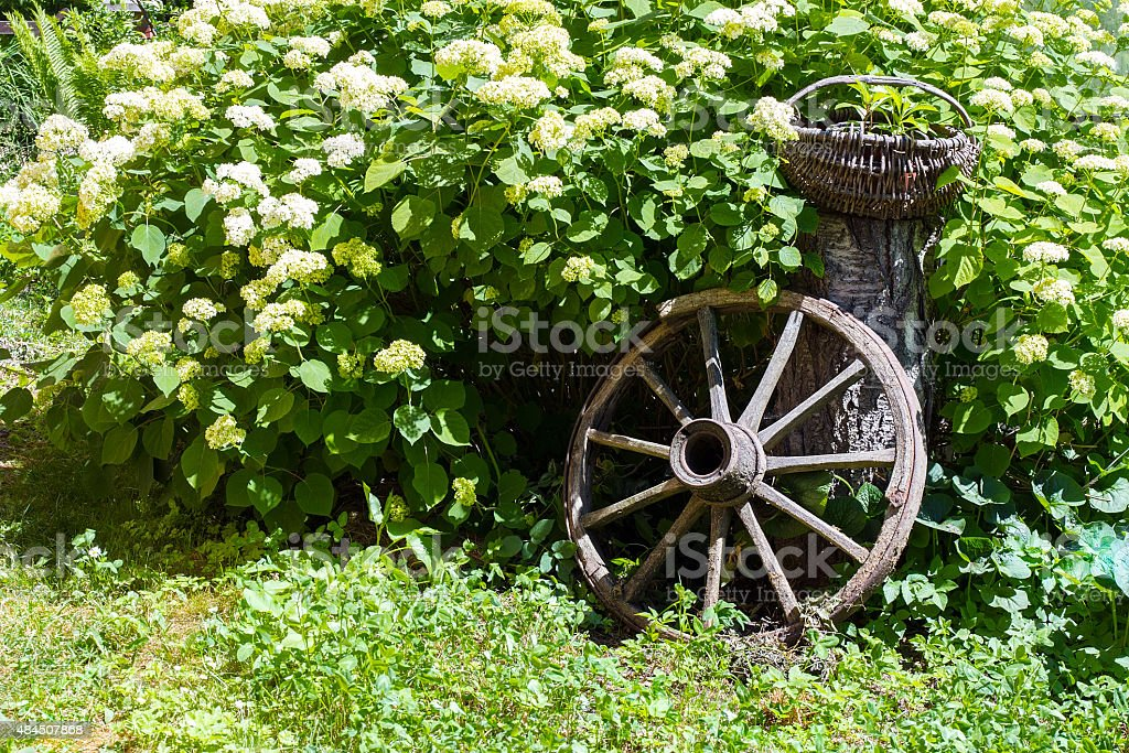 Foto De Old Wagon Wheel Decoracao Do Jardim E Mais Fotos De Stock De 2015 Istock