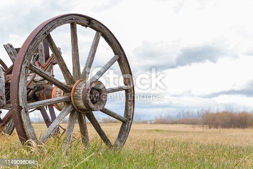 close up of an old wagon wheel