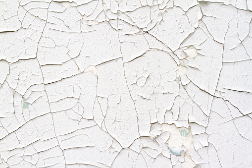 Old Wall Background: White-Gray Texture with Cracks