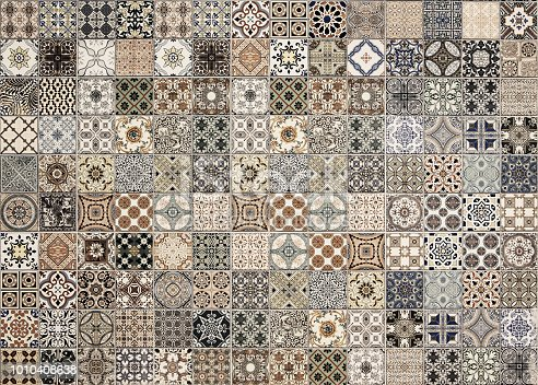 926058102 istock photo Old wall ceramic tiles patterns handcraft from thailand parks public 1010408638