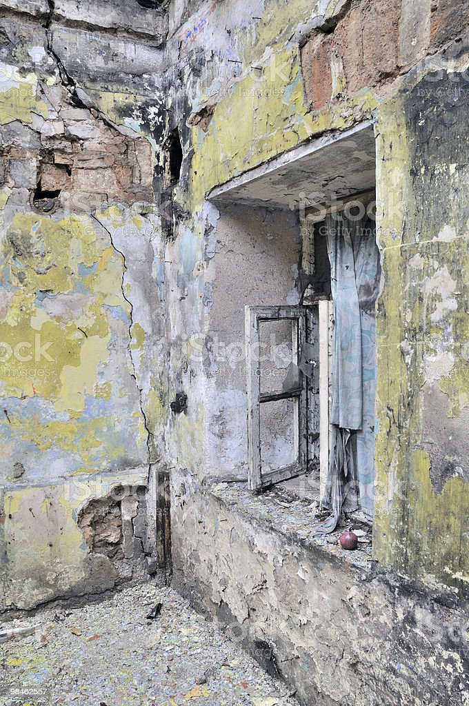늙음 벽 브로컨 하우스 royalty-free 스톡 사진