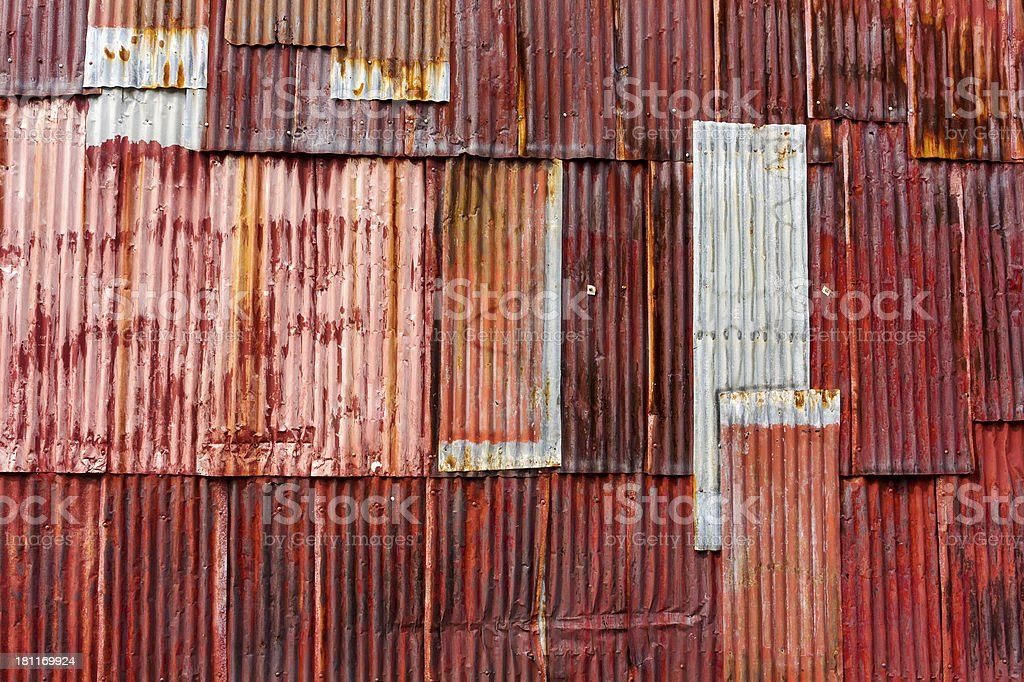 Old Wall rusty zinc. royalty-free stock photo