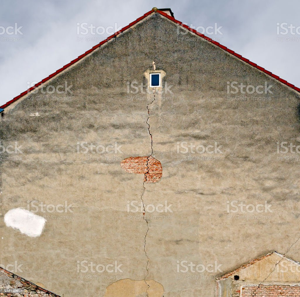 Old wall with crack stock photo