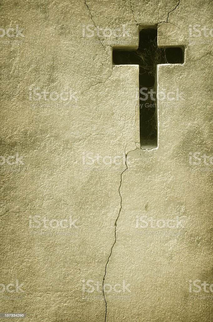 Old Wall With Cross stock photo