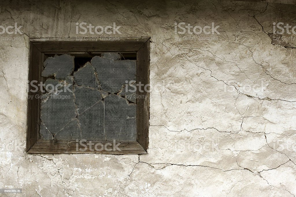 old wall with wooden windows royalty-free stock photo