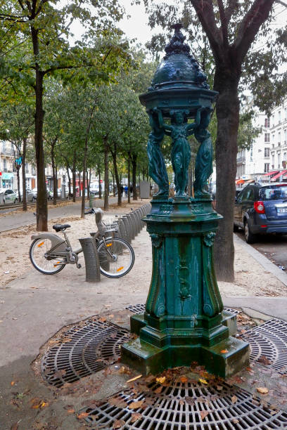 Old Wallace fountain in Paris stock photo