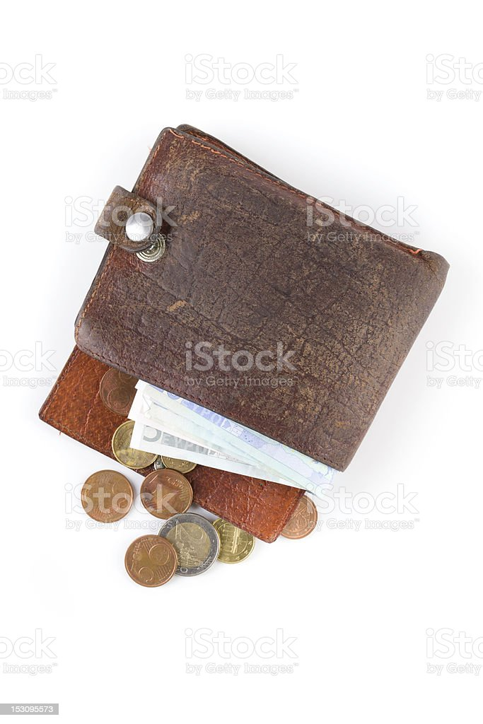 an old, dirty open wallet stuffed with money.