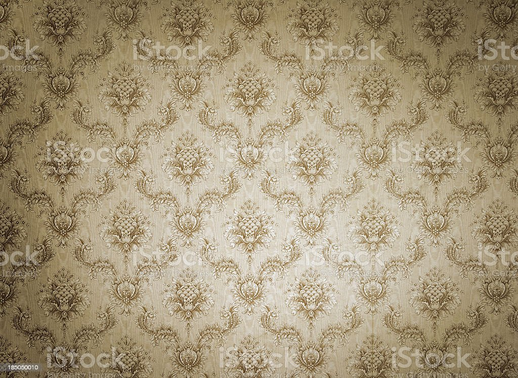 Old wallpaper with light and shadows stock photo