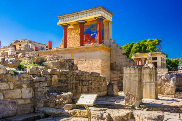 Old walls of Knossos near Heraklion. The ruins of the Minoan palaces is the largest archaeological site of all the palaces in Mediterranean island of Crete, UNESCO tentative list. stock photo