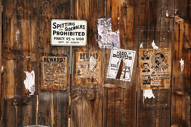 old wanted poster 18xx years, arizona, usa - wild west stock photos and pictures