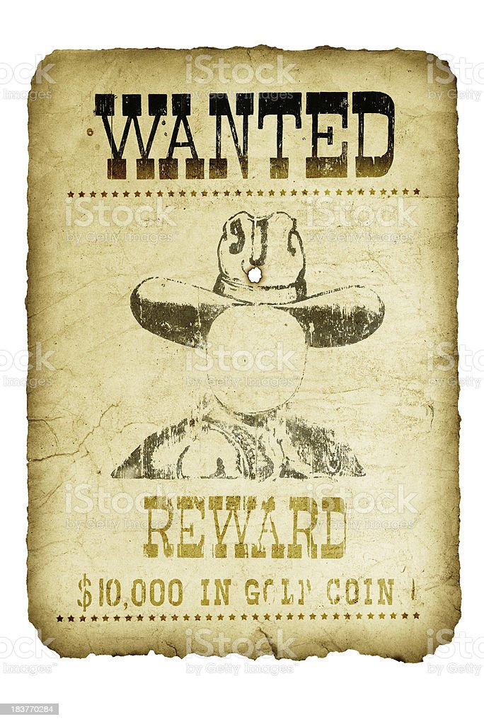 Old Wanted Poster Wild West royalty-free stock photo