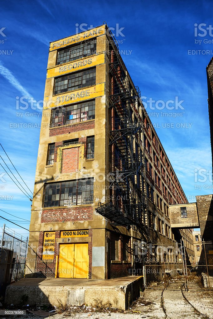 Old warehouse on  Goose Island, Chicago royalty-free stock photo