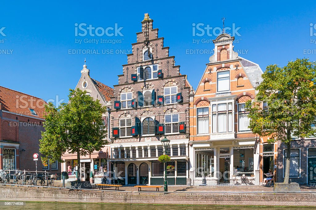 Old warehouse with stepped gable in Alkmaar, Netherlands stock photo