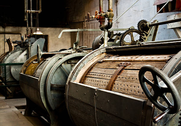 Old washing machine at a prison stock photo
