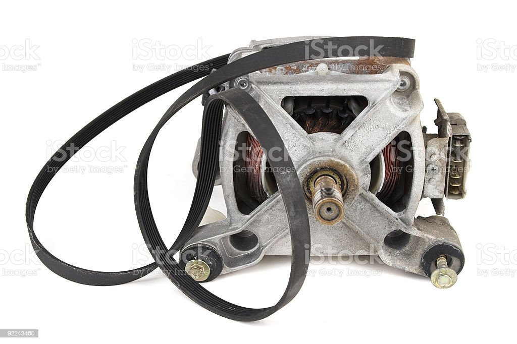 Old Washing Machine Motor With Belt Off stock photo