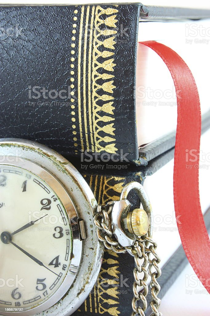 Old watch and books royalty-free stock photo