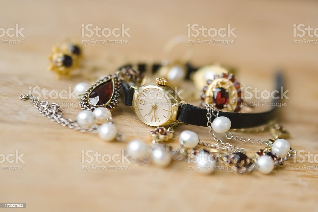Old watch and jewelry royalty-free stock photo