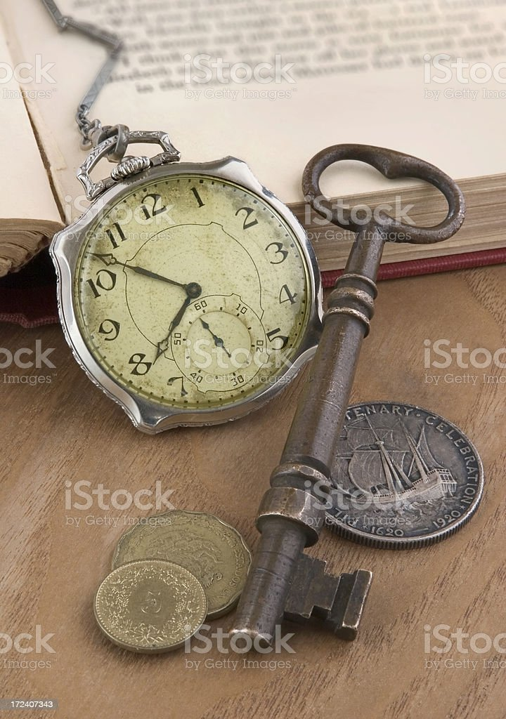 Old Watch, Key and Coins royalty-free stock photo