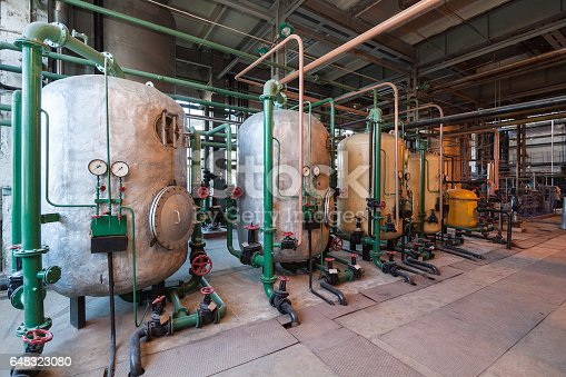 Old water softening filters in a power plant