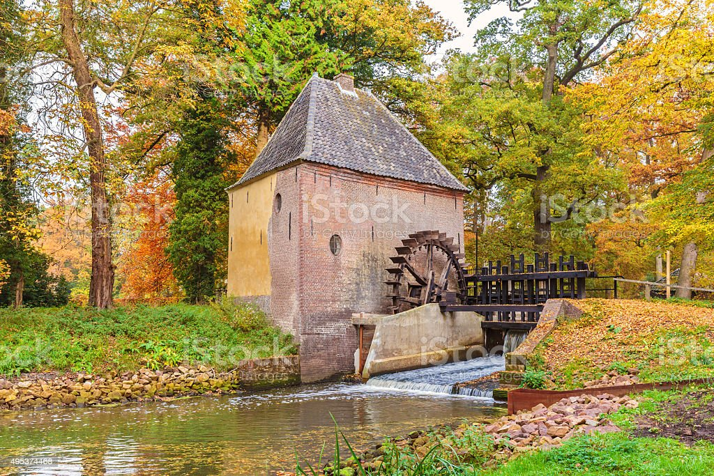 Old water mill in the Dutch province of Gelderland stock photo