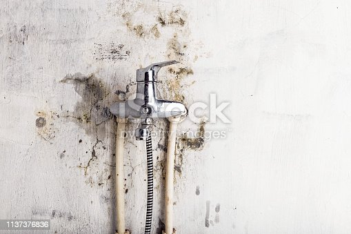 Old water tap and fungal mold on a light wall