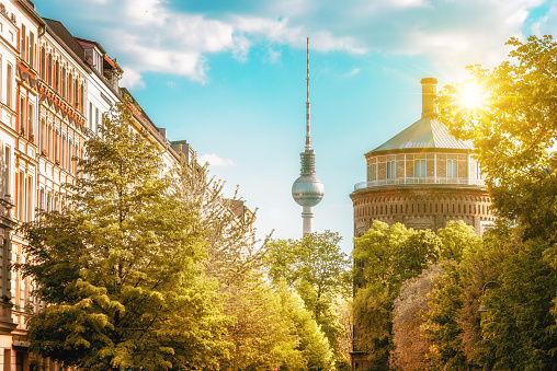 old water tower and Television Tower in Berlin Prenzlauer Berg