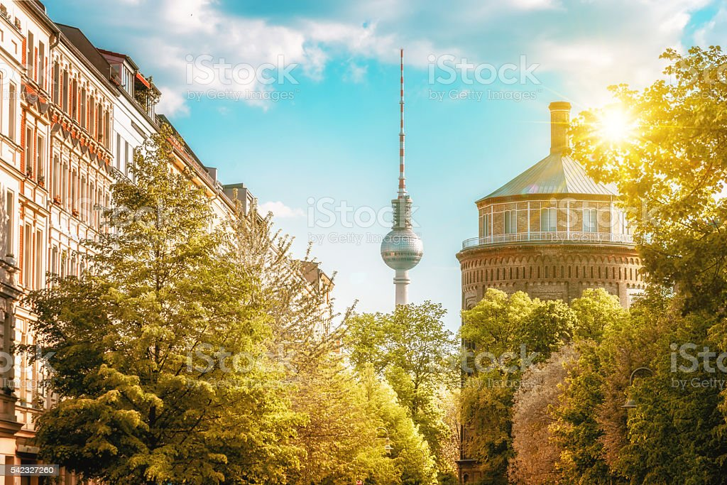 old water tower and Television Tower in Berlin Prenzlauer Berg stock photo