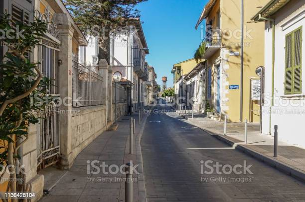 Limassol, Cyprus - October  4, 2018:  View from a backstreet in the old town looking towards the water tower.