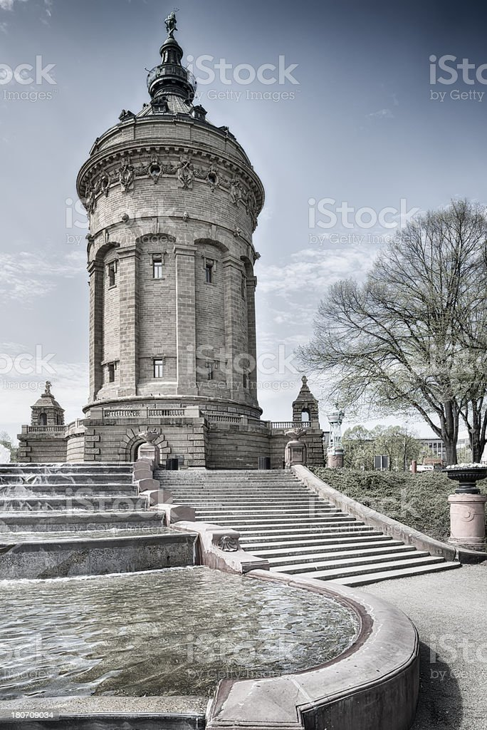Old water tower in Mannheim, Germany stock photo