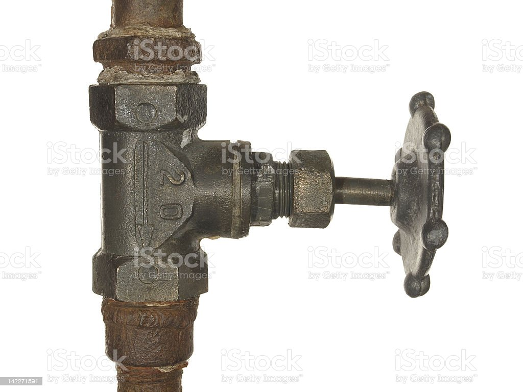 Old Water valve isolated on white background royalty-free stock photo