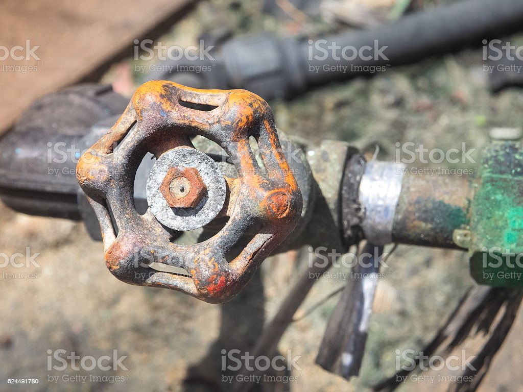 Old water valve, Selective focus stock photo