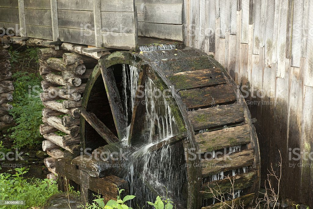 Old water wheel on a mill in Cades Cove royalty-free stock photo