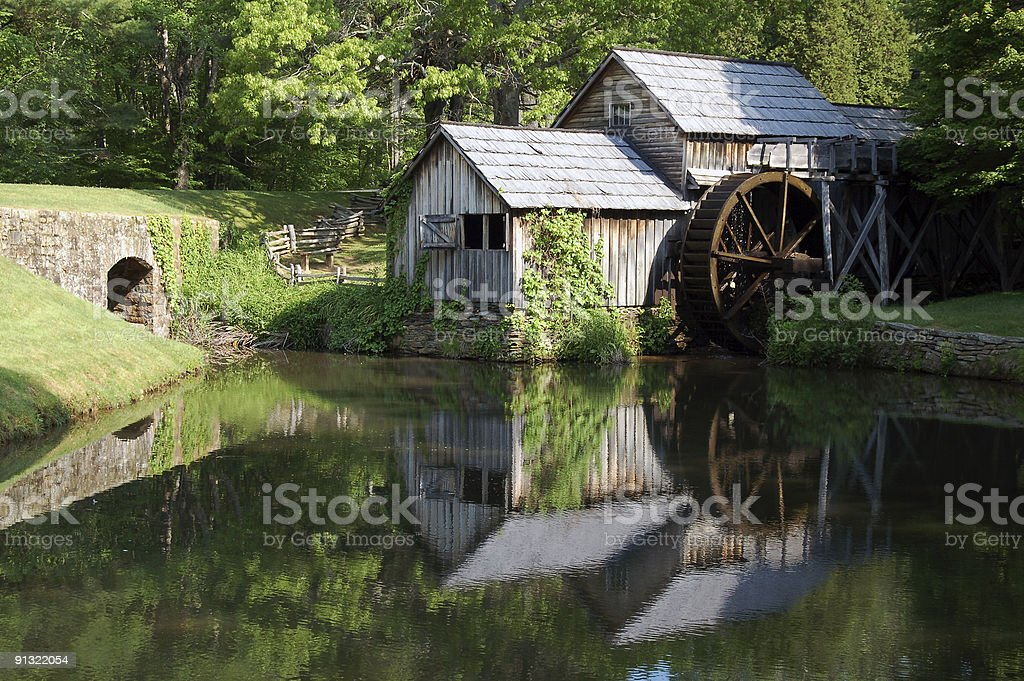 old water wheel stock photo