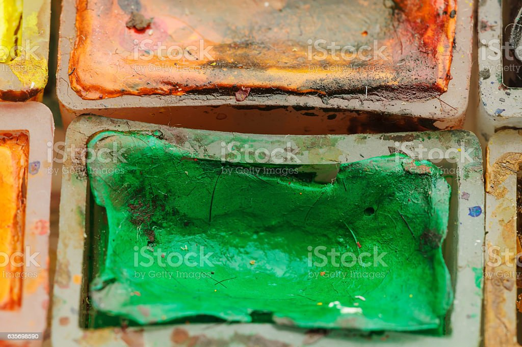 Old watercolor paints. royalty-free stock photo