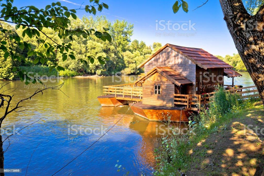 Old watermill on Mura river view, Medjimurje region of Croatia stock photo