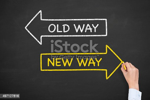 istock Old Way New Way on Blackboard 497127816