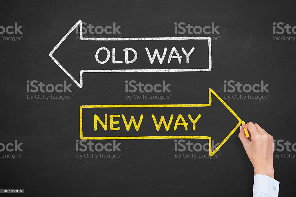 Old Way New Way on Blackboard stock photo