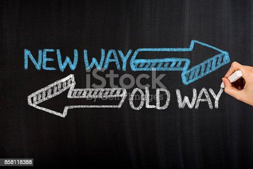 istock Old Way New Way on Blackboard 858118388