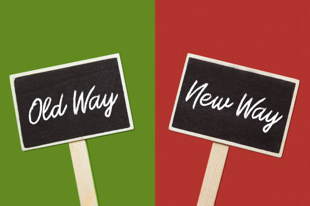 Old way or new way choice, text on two chalkboards Old way or new way choice, text on two chalkboards antipode stock pictures, royalty-free photos & images
