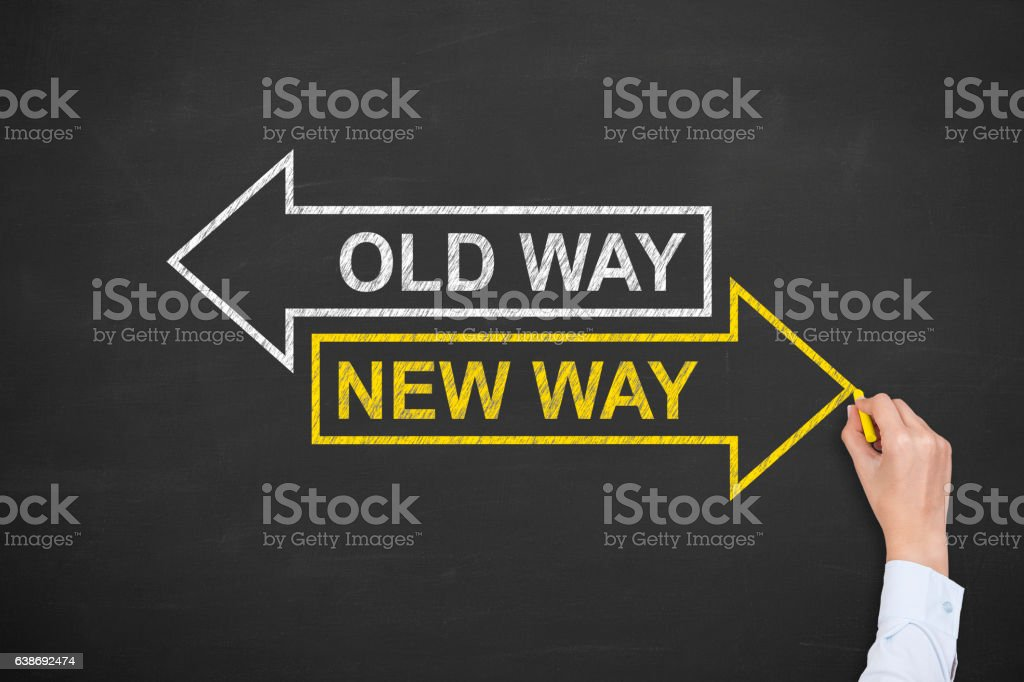 Old Way or New Way Concepts stock photo