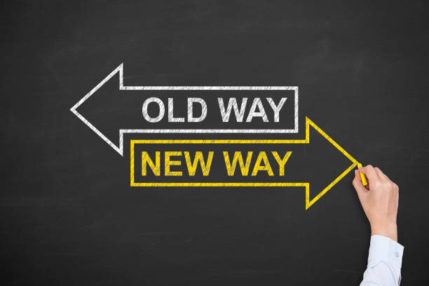 old way or new way concepts - coin stock photos and pictures
