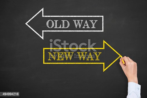 istock Old Way or New Way on Chalkboard 494994216