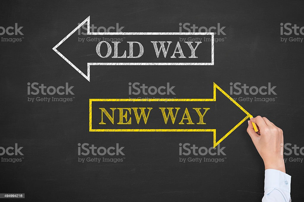 Old Way or New Way on Chalkboard stock photo