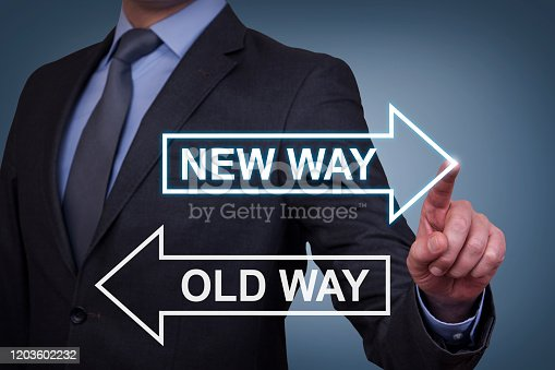 622323354 istock photo Old Way or New Way on Touch Screen 1203602232