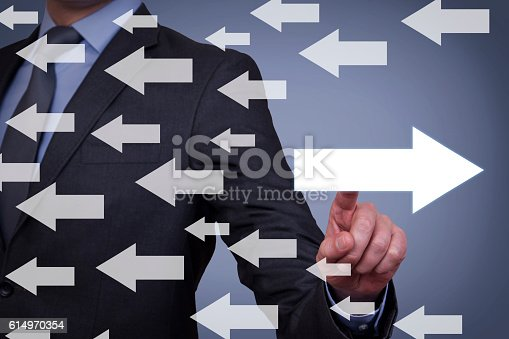 istock Old Way or New Way on Touch Screen 614970354